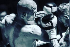 Boxers Sparring Black and White Image
