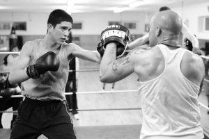 Boxing Sparring in Ring Black and White Image